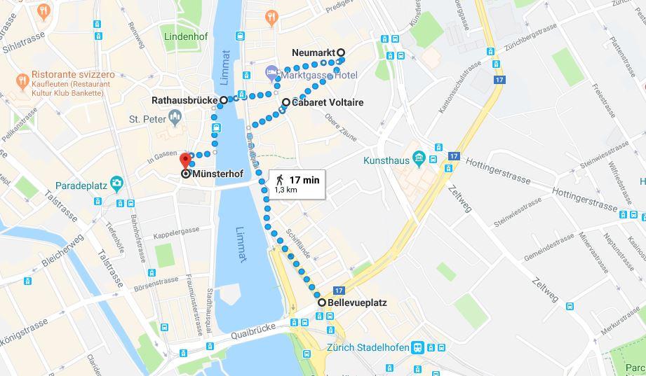 Itinerario a piedi nel centro di zurigo