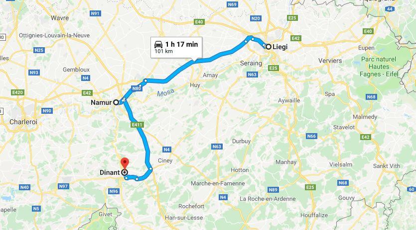 Itinerario di viaggio lungo la Mosa in Vallonia
