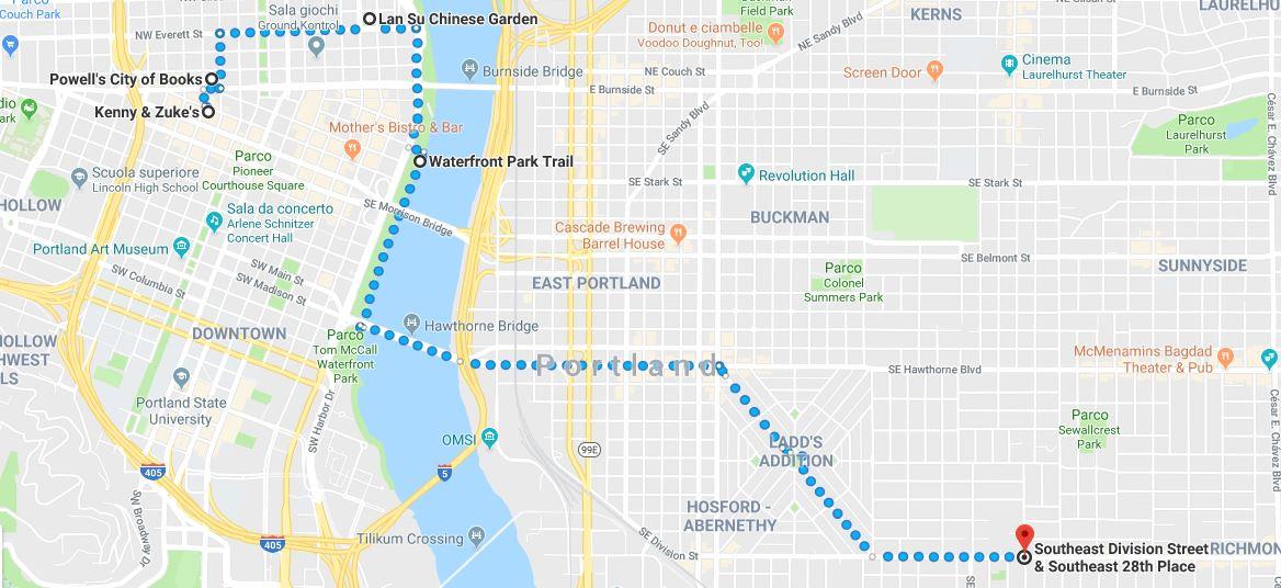 Mappa Itinerario per scoprire portland