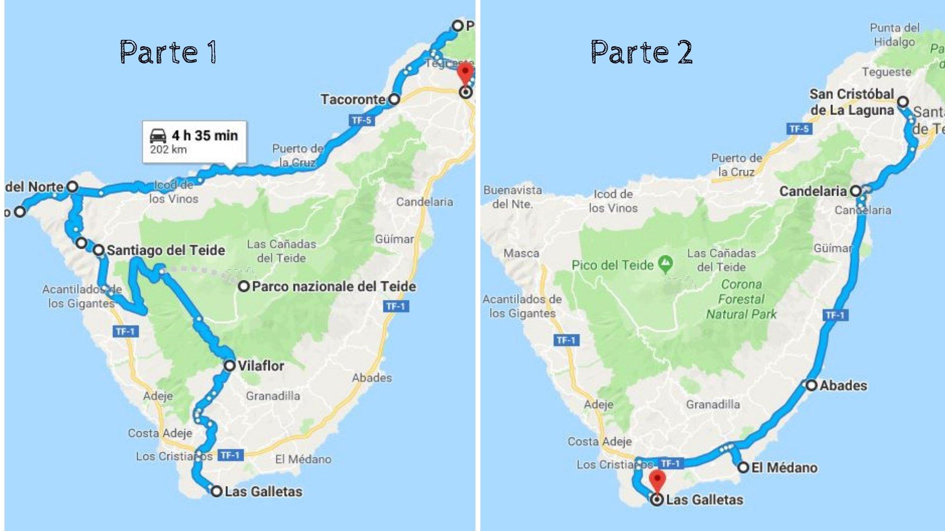 Itinerario giro di Tenerife