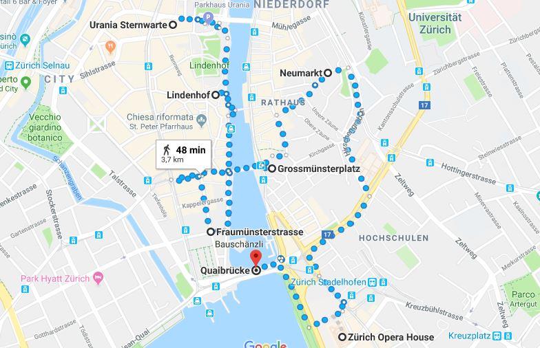 Itinerario per il primo giorno a Zurigo
