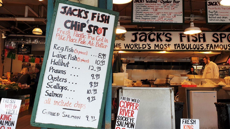 Rivenditori di pesce Pike Place Market Seattle