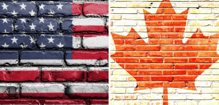 Passare il confine stradale tra Canada e Stati Uniti