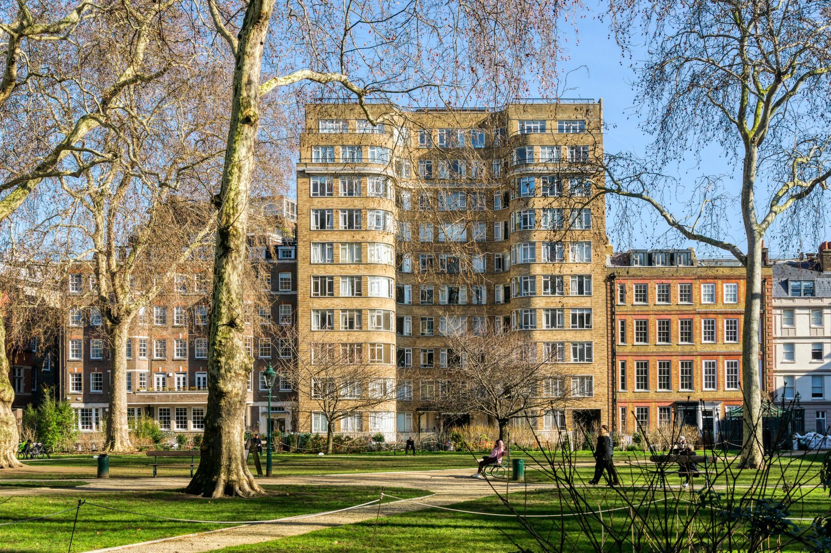 Florin Court seen across Charterhouse Square features as Whitehaven Mansions, the home of Hercule Poirot, in the TV series 'Agatha Christie's Poirot'.