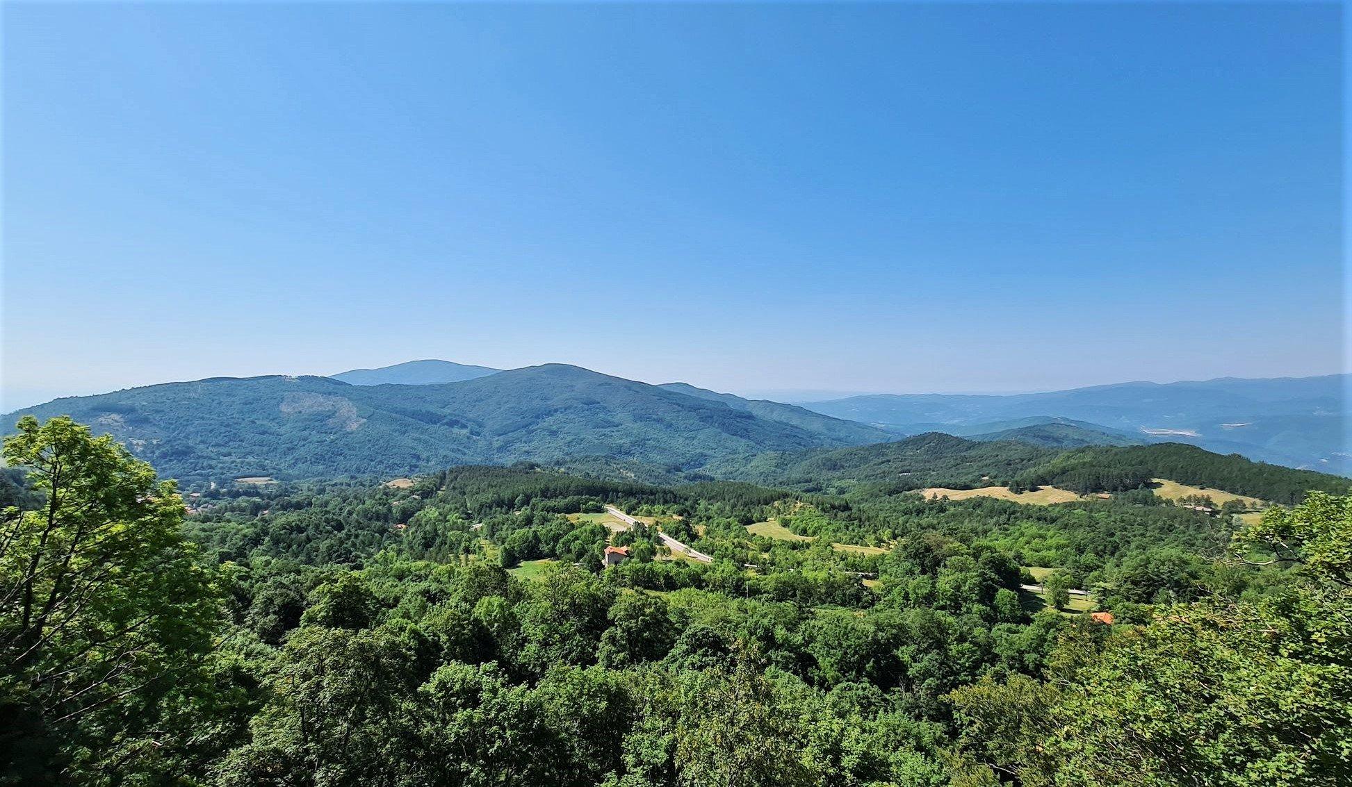 Il panorama sulle foreste casentinesi
