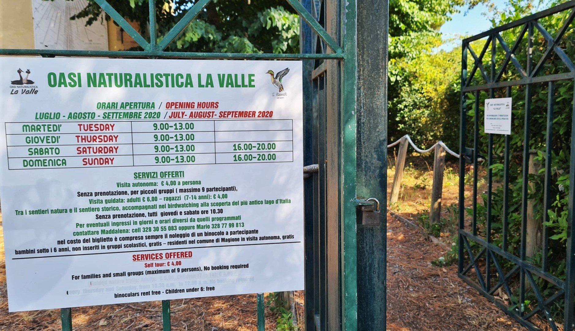 Consigli e informazioni per visitare l'Oasi La Valle