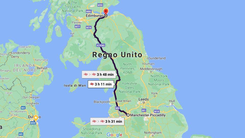 Itinerario viaggio in treno Manchester Edimburgo